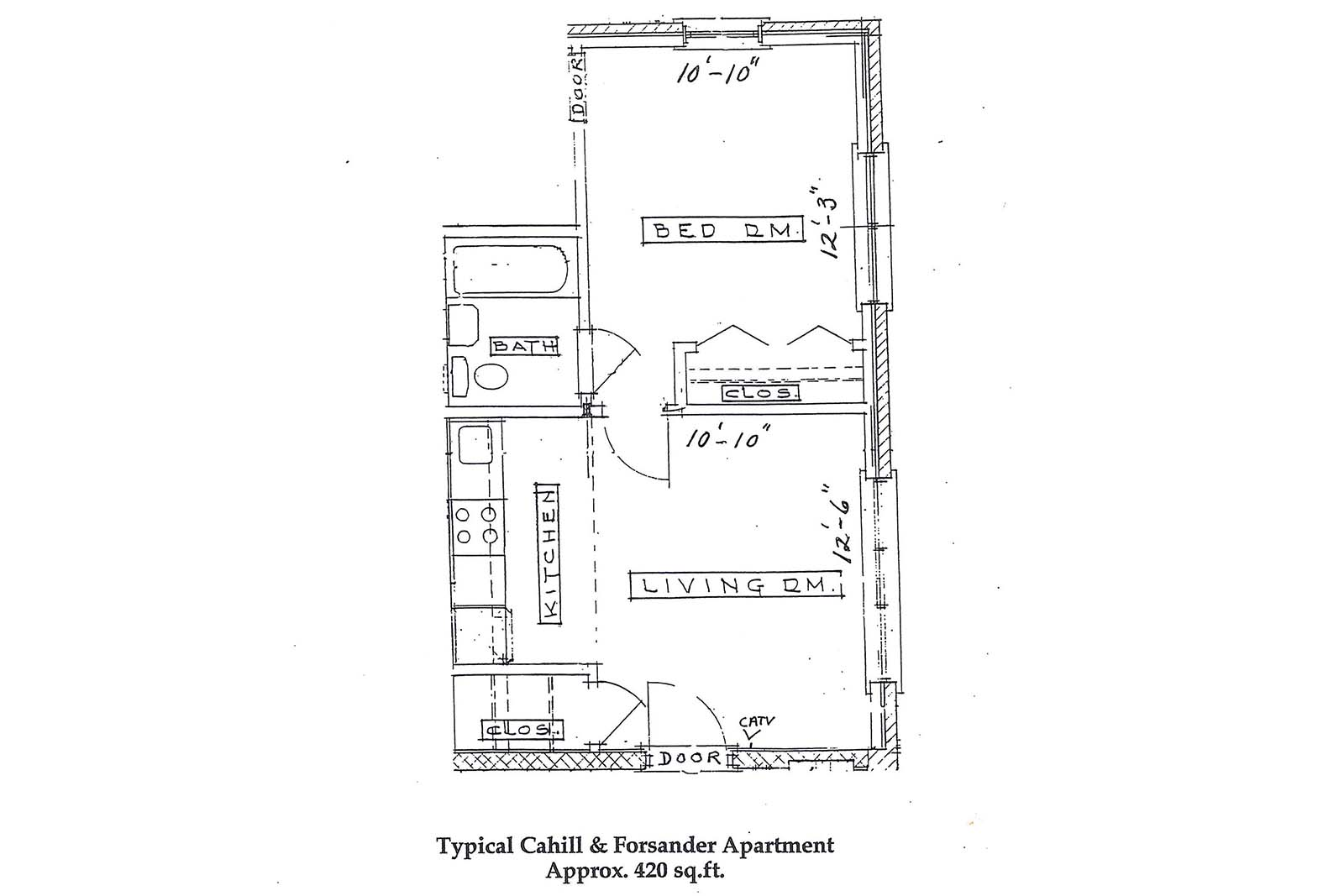 Cahill & Forsander Apartments layout Approx 420 sq ft