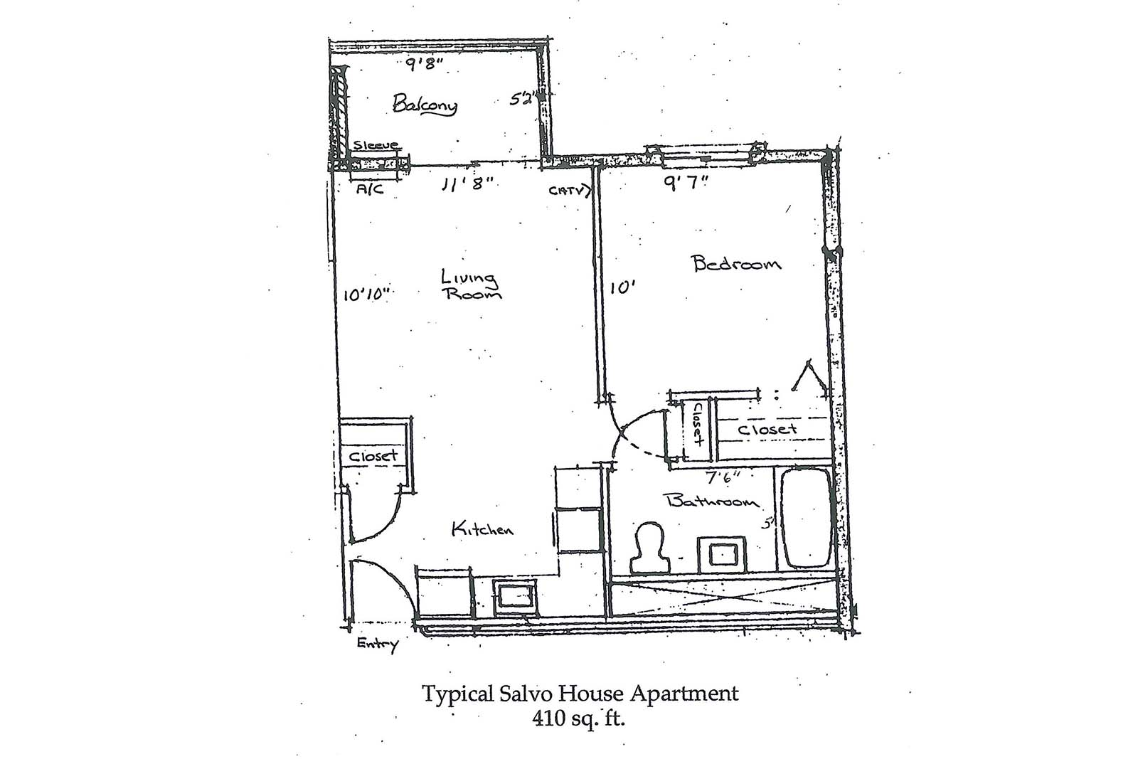 Walter Salvo House 1BR layout